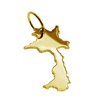 Trailer map LAOS pendant in solid 585 gold