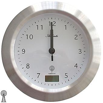 Atlanta 4204/19 wall clock bathroom clock radio silver water protected with thermometer