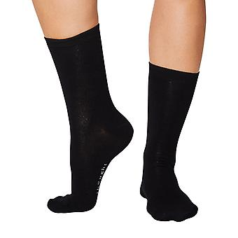 Jackie women's soft plain bamboo crew socks in black | By Thought