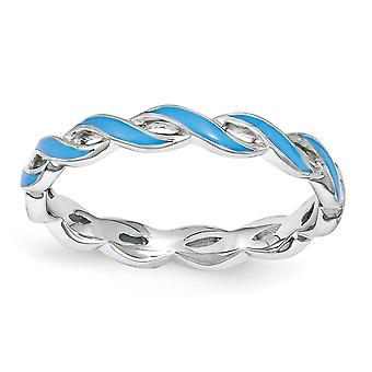 2mm Sterling Silver Polished Rhodium-plated Stackable Expressions Blue Enamel Ring - Ring Size: 5 to 10