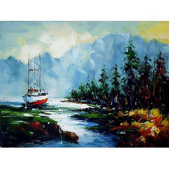 Landscape hand painted oil painting on canvas, 90x120 cm