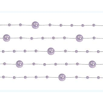 5 Lilac Purple 1.3m Pearl Bead Garlands for Crafts & Floristry
