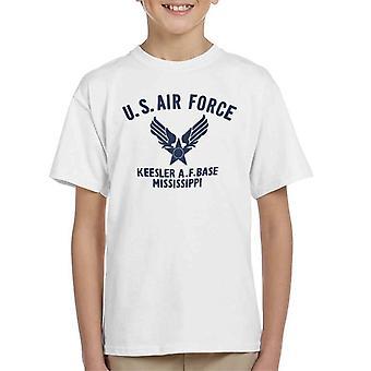 US Airforce Keesler AF Base Mississippi Navy Blue Text Kid's T-Shirt