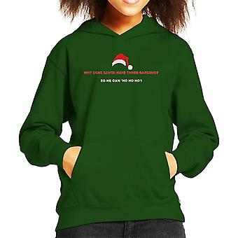Christmas Cracker Joke Three Gardens Ho Ho Ho Kid's Hooded Sweatshirt