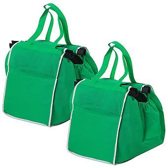 TRIXES pakke med 2 grønne sammenleggbar dagligvarer Shopping poser