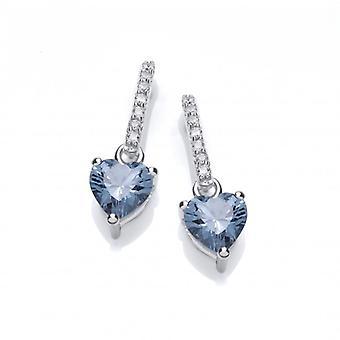 Cavendish franske Sparkly Aqua Heart øreringe