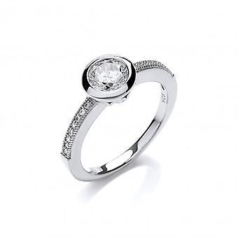 Cavendish francuski Fine Silver i cyrkonia Solitaire pierścień