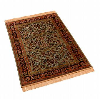 Green Afghan Ziegler Artificial Faux Silk Effect Rugs 5663/16 100 x 140cm