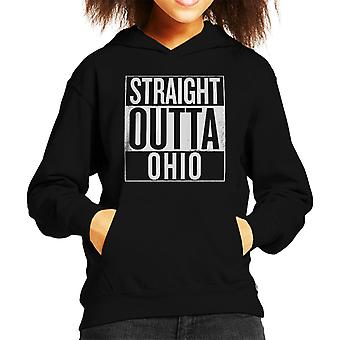 White Text Straight Outta Ohio US States Kid's Hooded Sweatshirt