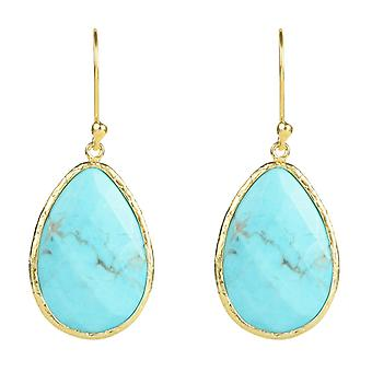 Latelita Sterling Silver  22ct Gold Earring Tear Drop Blue Turquoise Gemstone