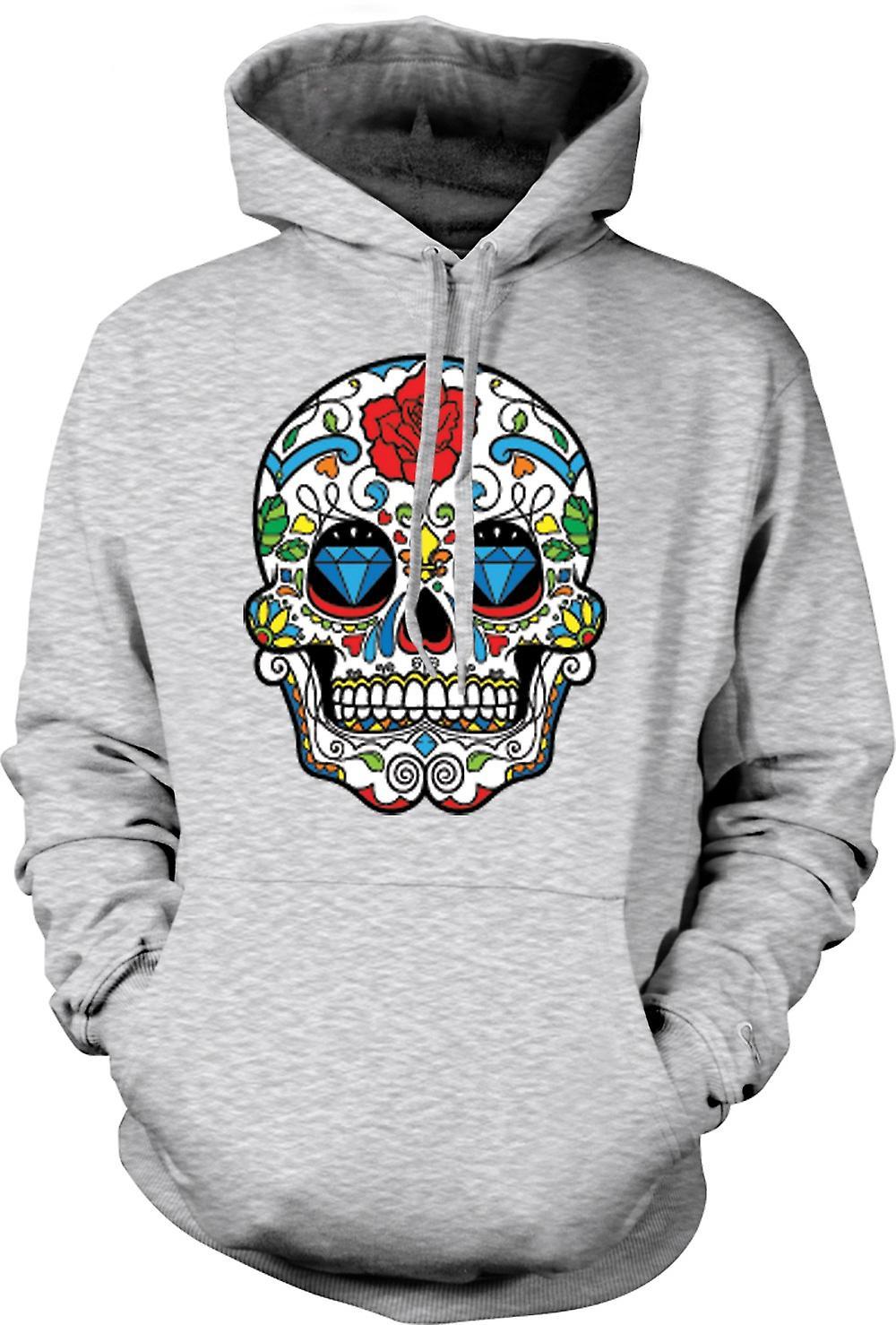 Mens Hoodie - Mexican Sugar Skull - Dia De Los Muertos