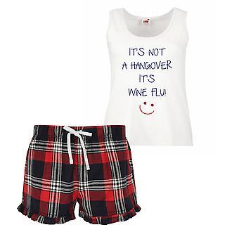 It's Not A Hangover It's Wine Flu Ladies Tartan Frill Short Pyjama Set Red Blue or Green Blue