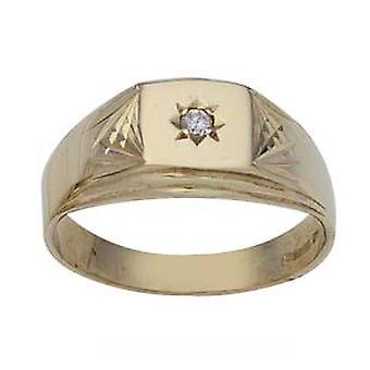 9kt guld firkantet diamant cut skuldre med 3pts diamant kjole Ring størrelse Rasmussen