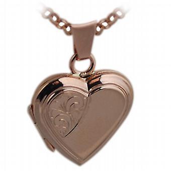9ct Rose Gold 17x17mm gravé en forme de médaillon avec belcher Chain 16 pouces convient uniquement pour les enfants de coeur