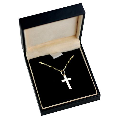 9ct Gold 17x10mm hand engraved solid block Cross with a cable Chain 16 inches Only Suitable for Children