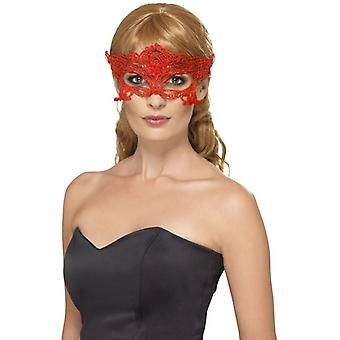Womens Red Embroidered Lace Filigree Heart Eyemask Fancy Dress Accessory