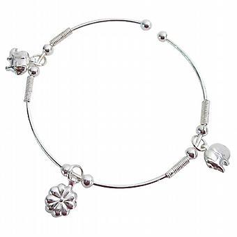 Christmas Bracelet Dangling Charms Adjustable Cuff Bracelet