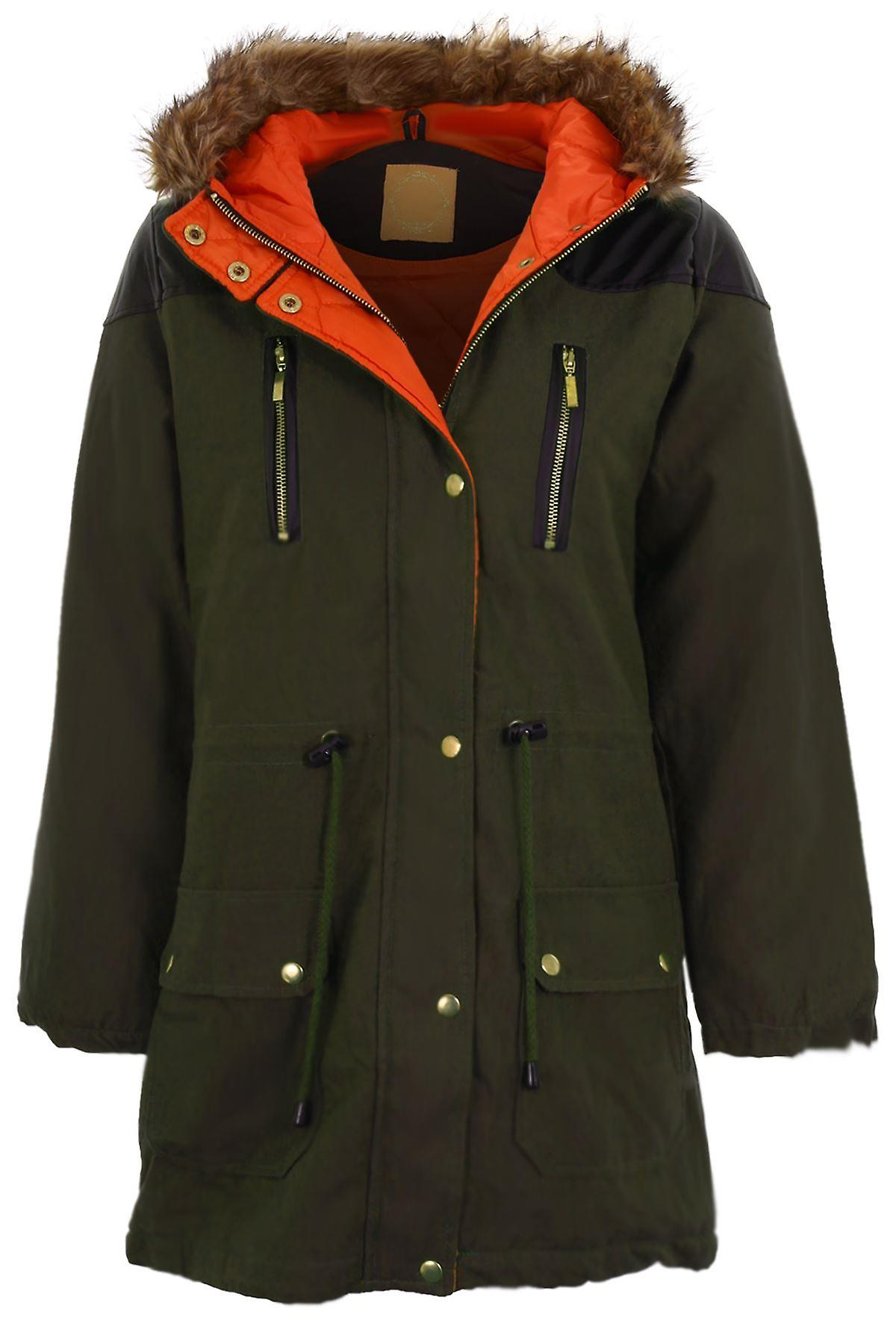 Ladies Khaki Quilted PVC Contrast Coat Women's Fishtail Fur Hooded Parka Jacket