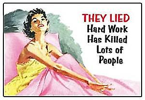 They lied..hard work killed...funny fridge magnet