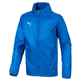 PUMA League training rain core kids rain jacket electric blue lemonade