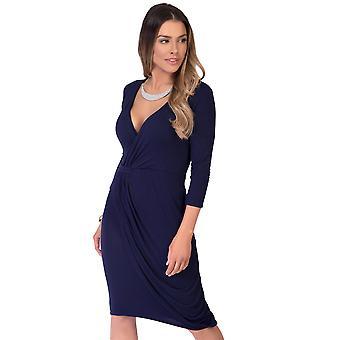 KRISP  Women Shift Wrap Dress Knee Long Quarter 3/4 Sleeve Midi Sexy Solid Casual