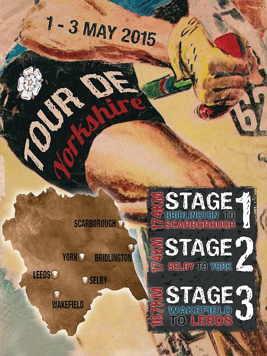 Tour de Yorkshire Stages small steel wall sign  (og 2015)