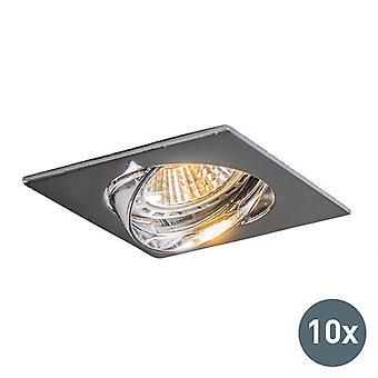 QAZQA set van 10 verzonken vierkante Spotlight edu Chrome