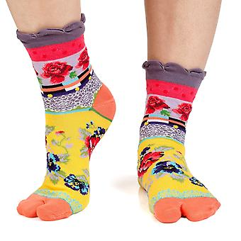 Lace women's crazy cotton toe socks in yellow | By Dub & Drino