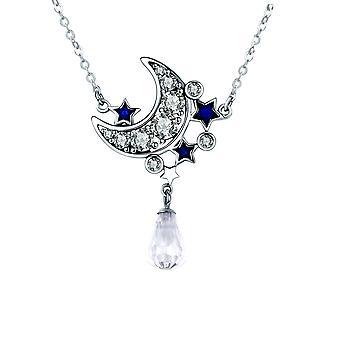 Collier Lune et Etoiles orné de Cristal de Swarovski blanc et bleu et Argent 925
