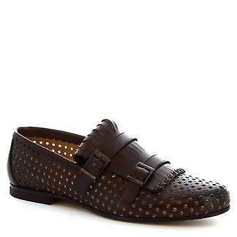 Leonardo Shoes men's handmade double monk mocassins in brown drilled leather