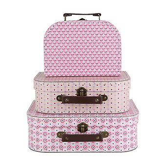 Spring Retro Daisy Suitcase Set of 3 Pink