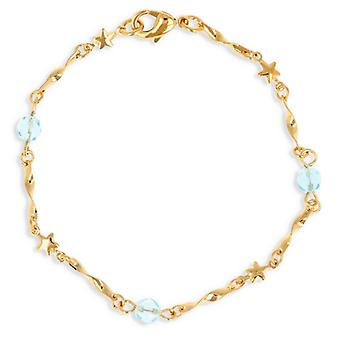 Bracelet Plaqué Or Avec Cristal Bleu 19cm