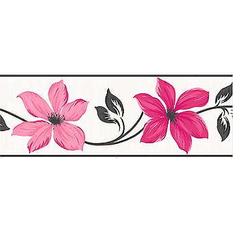 Fine Decor Lily Pink Floral Wallpaper Border Charcoal Cream Metallic Flowers