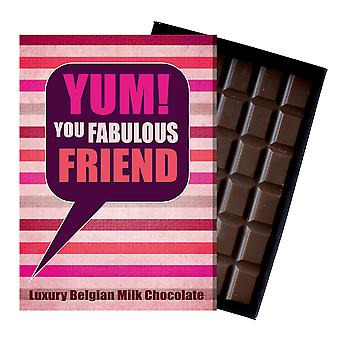 Gift for Friend for Birthday or say Thank You Chocolate Greetings Card Present for Best Friendship YUM110