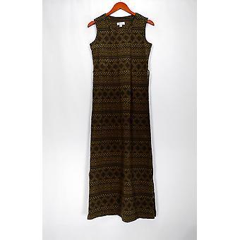 Denim & Co. Kleid XXS gedruckt Jersey ärmellose Maxi grün A266837