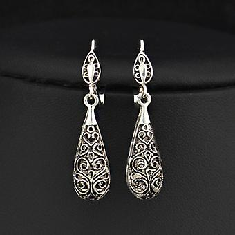 Antique Silver Plated Carven Pattern Dangle Earrings, 4.2cm