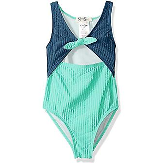 Jessica Simpson Big Girls' One-Piece Swimsuit Bathing Suit, Navy, Blue, Size 12