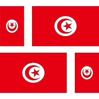 4 X Autocollant Sticker Voiture Moto Valise Pc Portable Drapeau Tunisie Tunisien