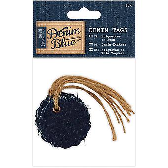 Papermania Denim blauw Tags cirkel 6/Pkg-gegratineerde PM358722