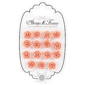 Craft Consortium Always & Forever Resin Flowers 15/Pkg-Peach AFRFL007