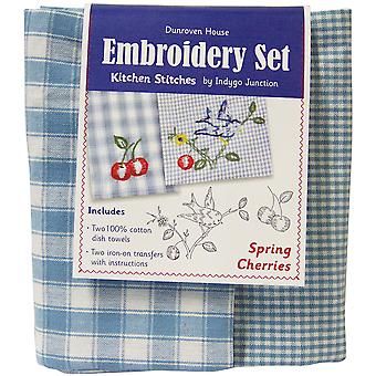Spring Cherries Kitchen Stitches Embroidery Set Blue & White Check 200 102