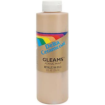 Ceramcoat Gleams Acrylic Paint 8 Ounces 14K Gold 2600 8 2604