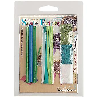 Decorative Sealing Extras Blue Green Wax, Ribbon, Glitter 7271Bg
