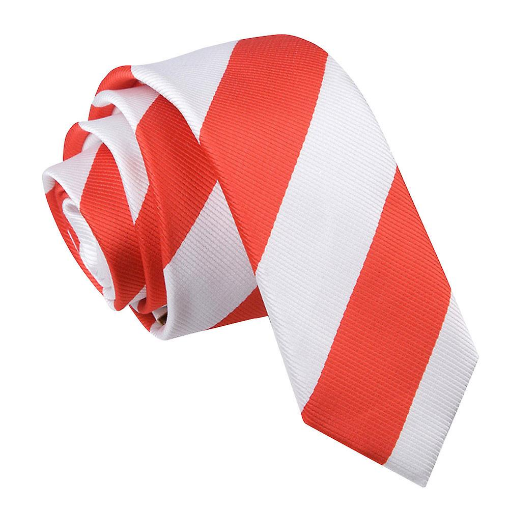 Striped Red & White Skinny Tie