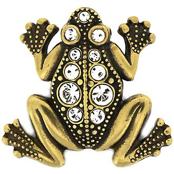 Cavendish French Edwardian Gold & Crystal Mini Frog Lapel Pin