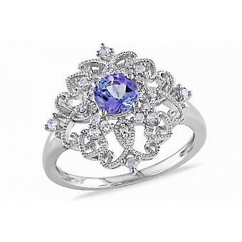 Affici  Sterling Silver Filigree Cocktail Ring 18ct White Gold Plated ~ Tanzanite Blue CZ Gem