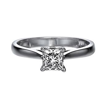 0.6 Carat F SI1 Diamond Engagement Ring 14K White Gold Solitaire Classic Cathedral