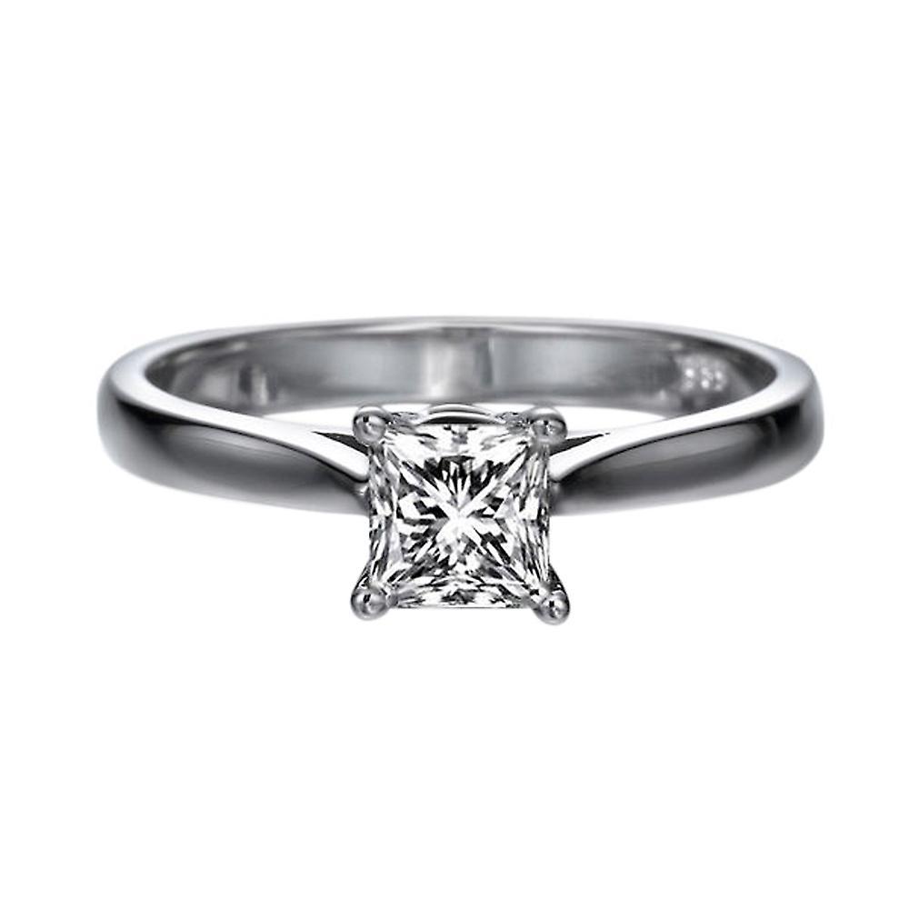 0,5 carat E VS2 Diamond Engagement Ring 14K or blanc Solitaire classique Princesse