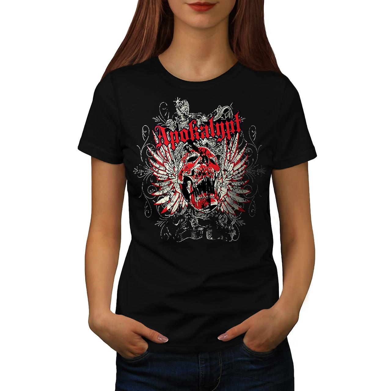 Apocalypse Dead Curse Skull Head Women Black T-shirt | Wellcoda