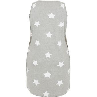 Gris y blancas estrellas impresión camisón sin mangas